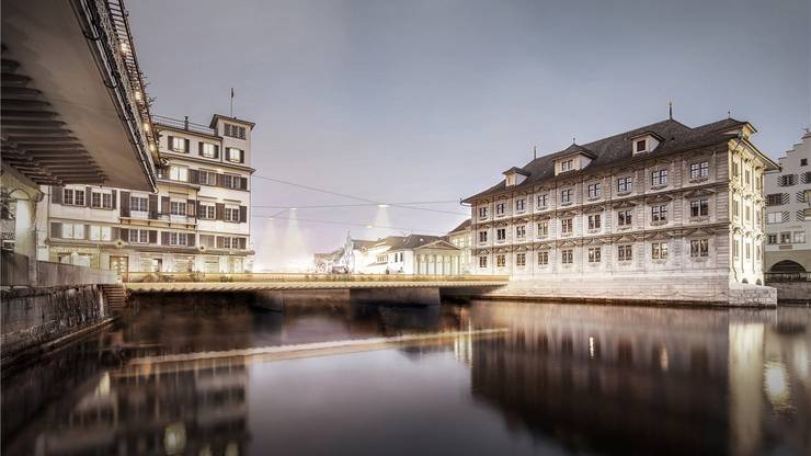 Schmalere Brückenpfeiler sollen sicherstellen, dass beim Engpass Rathausbrücke genug Wasser abfliessen kann.  ZVG/ZH