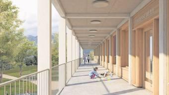 Ein Laubengang führt rund ums geplante zweistöckige Gebäude.