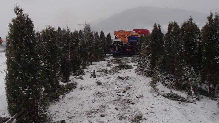Ein Lastwagen fuhr in Richtung Hüttikon, als er ausgangs Würenlos mit dem Heck gegen die Kabine eines entgegenkommenden Lastwagens mit Schneepflug prallte. Das Schneeräumungsfahrzeug kam rechts von der Strasse ab und nach rund 30 Metern mitten in der dortigen Baumschule zum Stillstand.