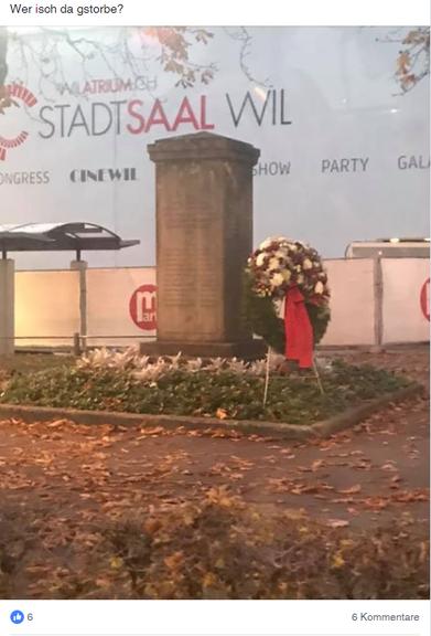 Wofür steht dieses Denkmal – wollen die Wiler wissen. (Bild: Facebook/DubischvoWilwenn...)