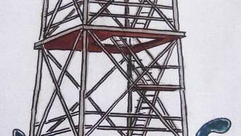 Die Illustration des Turms auf der Mumpfer Fluh stammt von Architekt Felix Hurt.