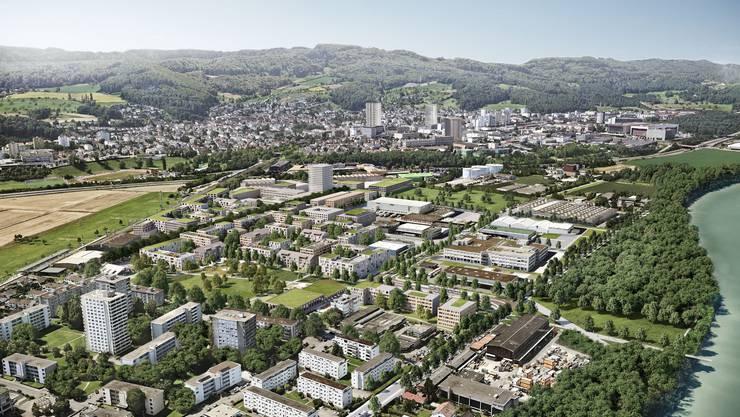 Die Planer stellen sich das neue Wohn- und Gewerbequartier in Salina Raurica mit einem grossen zentralen Park vor.