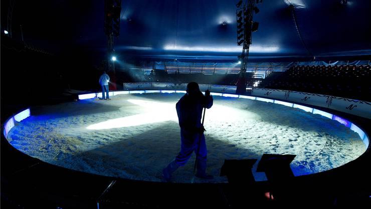 Die Manege des Circus Nock wurde im vergangenen Dezember zum letzten Mal aufgeräumt. Nun läuft das Konkursverfahren.Bild: Archiv/Key