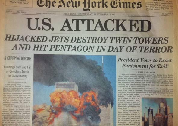 Amerika angegriffen: New York Times vom 12. September 2001