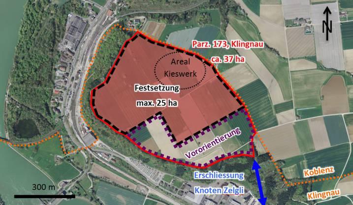 Das geplante Kiesabbaugebiet in der Klingnauer Geländekammer Hard/Härdli.