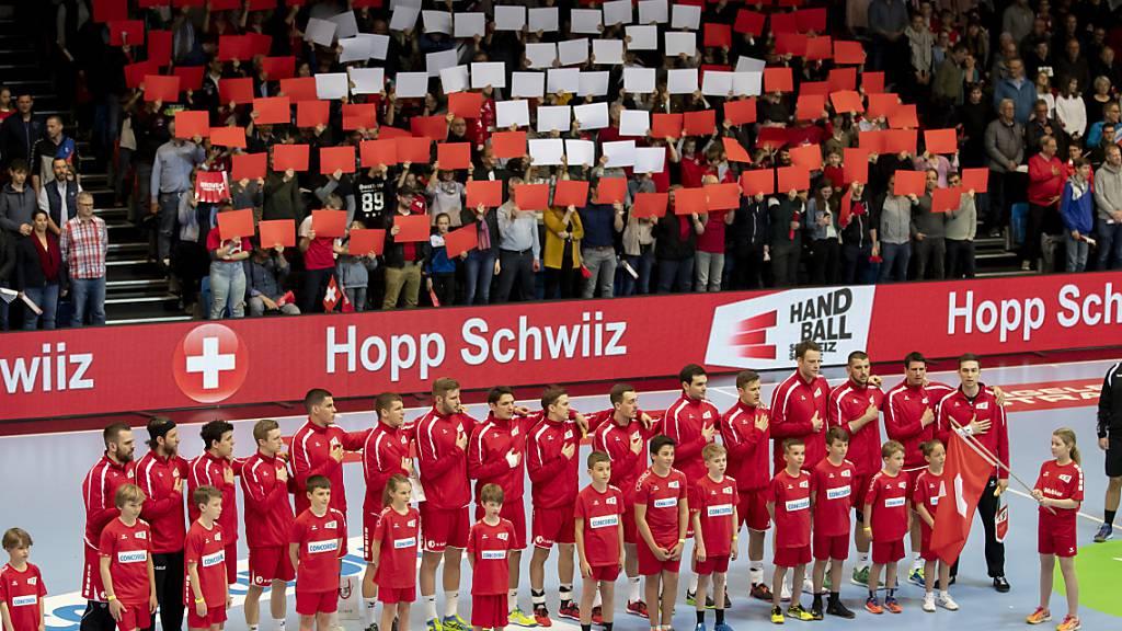 Die Schweizer Handball-Nationalmannschaft im April 2019 vor einem Länderspiel in Schaffhausen