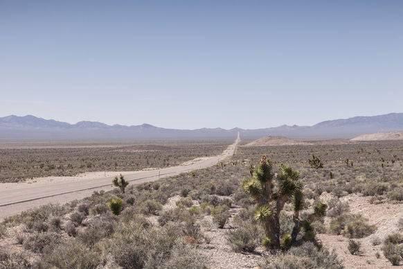 Highway 375: Hinter dem Gebirgszug links befindet sich die Nellis Range.