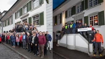 Die FDP und die SVP auf der «Rössli»-Treppe zu Balsthal.