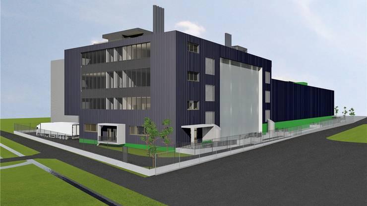 Die Visualisierung zeigt den Neubau mit Büro, Lagerflächen und Anlieferung, der ein Stockwerk höher gebaut wird als die bisherigen Module. zvg