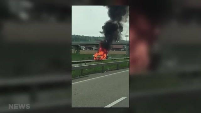 Flammen-Inferno auf der A6