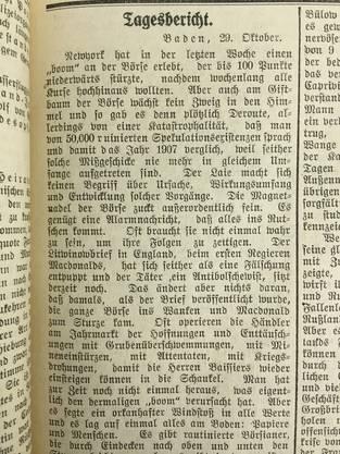 «Am Giftbaum der Börse wächst kein Zweig in den Himmel.» Badener Tagblatt am 29. Oktober 1929.