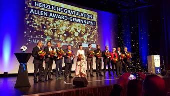 Alle Award-Gewinner der AFV-Gala auf der Bühne.