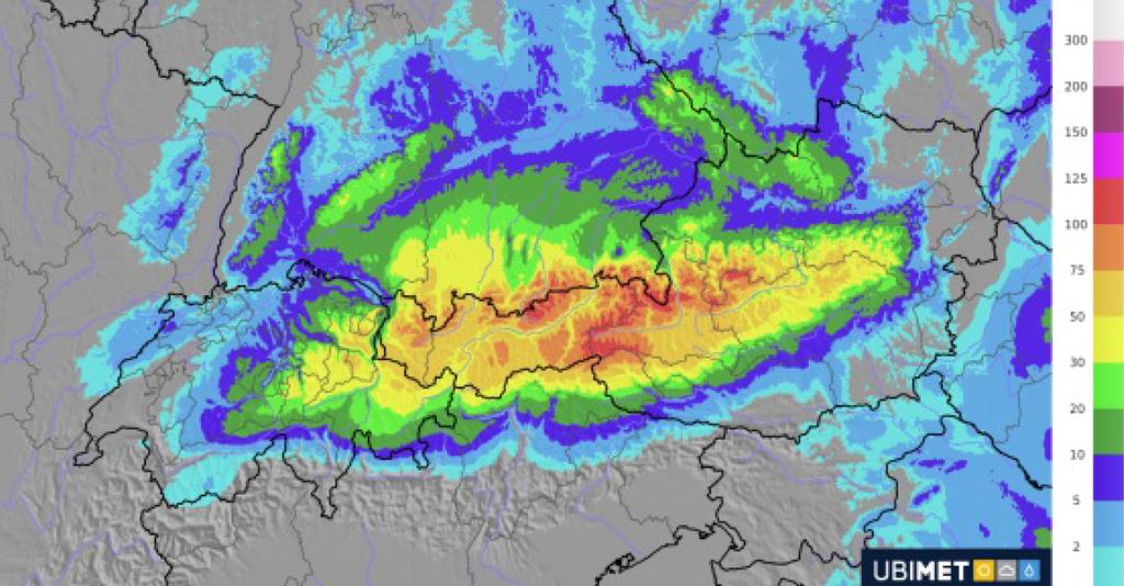 In den östlichen Landesteilen wird es in den nächsten Tagen heftig schneien: die prognostizierte Schneehöhe für Montag, 7. Januar.