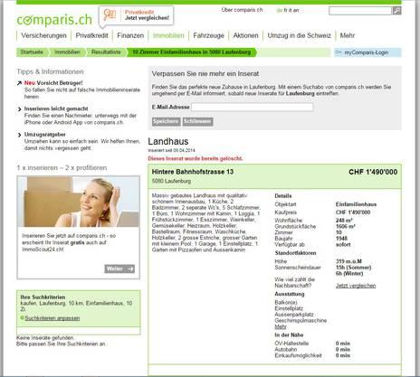 Ein Screenshot der Comparis-Seite mit der Liegenschaft