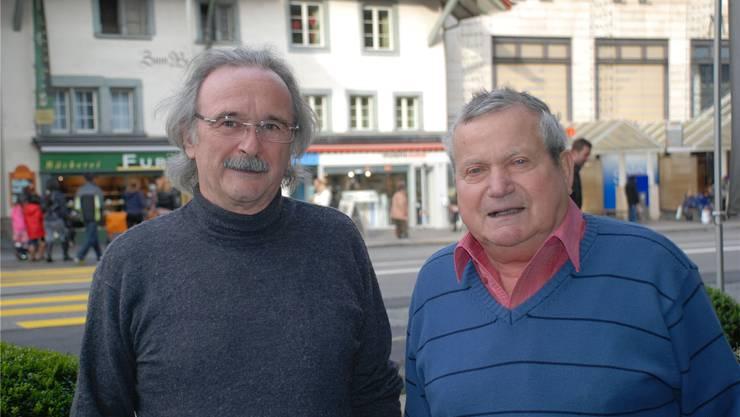 Schützenmeister Eduard Hürzeler (l.) und Kassier Josef Eng bedauern das Ende des Freien Schiessvereins Aarau. hr