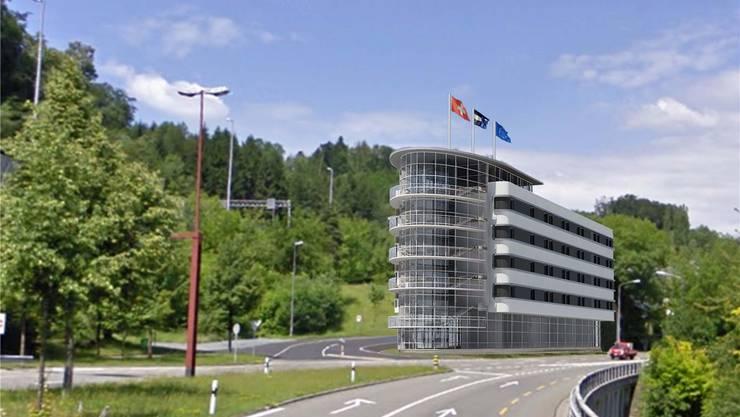 Das geplante 2-Sterne-Projekt bei der Autobahnauffahrt Neuenhof. (Visualisierung)
