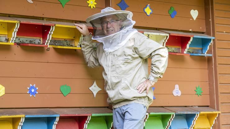 Durch die farbigen Eingangsluken finden die Bienen von Carlo Ott den Weg in ihre Kästen.
