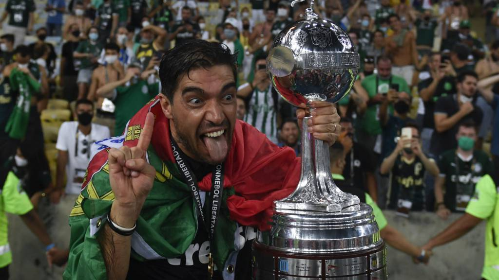 Palmeiras' portugiesischer Trainer Abel Ferreira feiert den Sieg in der Copa Libertadores