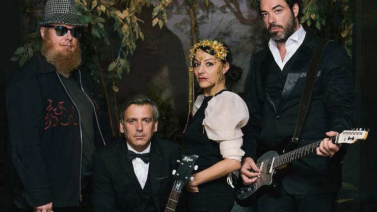 Gäbe es in Bern einen Dschungel, dann würden sie ihn regieren: Die Mitglieder der Rock'n'Roll-Band Frankie Safari. (Bild: Silvio Brügger)