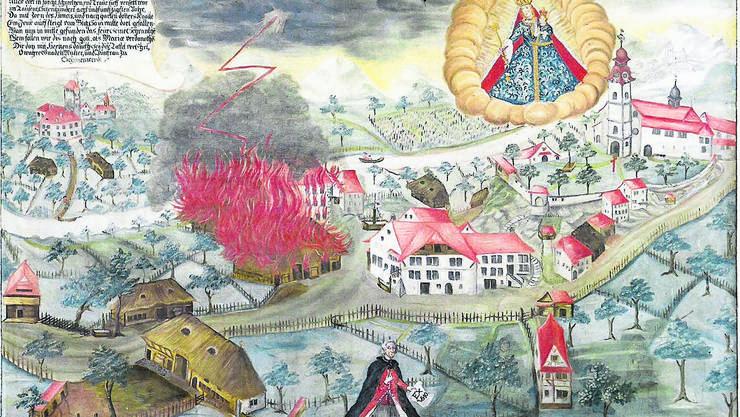 Gefahrenquelle Strohdächer: historische Darstellung eines Dorfbrandes in Schönenwerd.