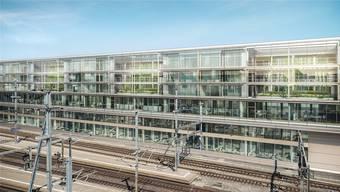 So wird das Grossprojekt «Gleis 0» beim Aarauer Bahnhof aussehen. ZVG