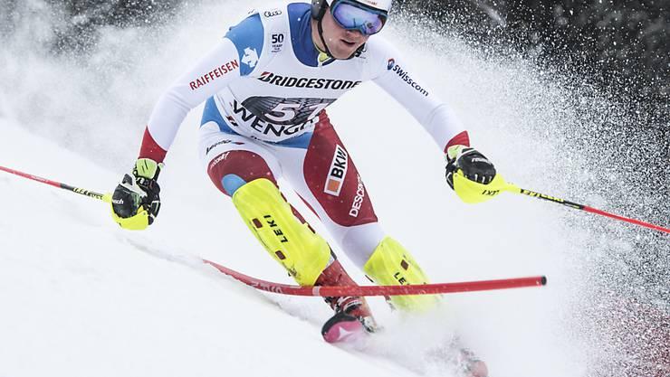 Die guten Abfahrer (hier Niels Hintermann bei seinem Sieg in Wengen vor knapp drei Jahren) starten in der Kombination nun ganz vorne zum Slalom