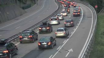 Die Autos stauten sich vor dem Gotthard-Nordportal im Kanton Uri am frühen Samstag auf einer Länge von gegen zehn Kilometern.