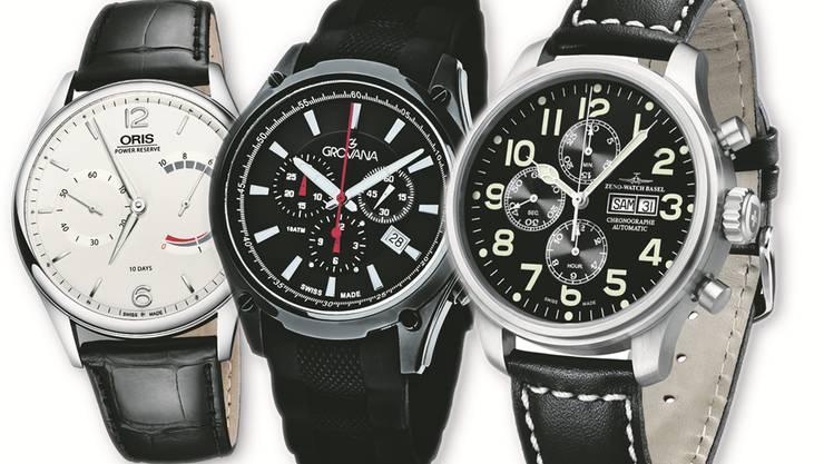 Von links nach rechts: Oris «110 Years limited Edition», Grovana «Sports 1635.9», Zeno «Oversized Chronograph».