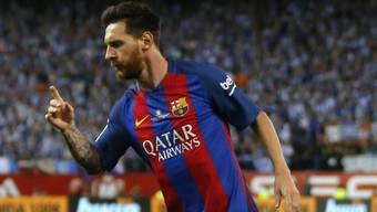 Barcelonas Lionel Messi nach seinem Tor im Cupfinal zum 1:0 gegen Alaves