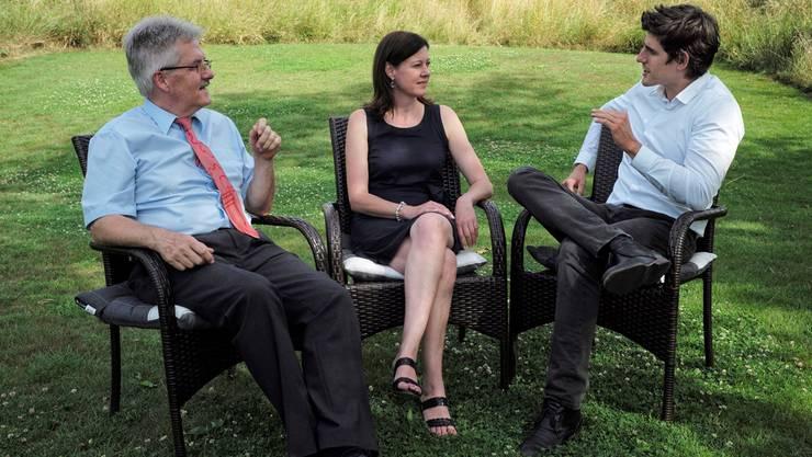 Es gibt Diskussionsbedarf: Oskar Kämpfer, Christine Frey und Marc Scherrer (v.l.) – hier im Sommer 2014.