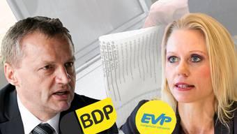 Die EVP und BDP vereint. Wem das Vorteile bringen wird, ist ungewiss. Hier: Roland Basler (BDP), Bernhard Guhl (BDP), LIlian Studer (EVP) und Roland Frauchiger (EVP).