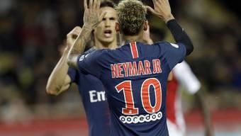 Die Superstars jubeln: Neymar und Cavani nach dem vierten PSG-Tor gegen Monaco