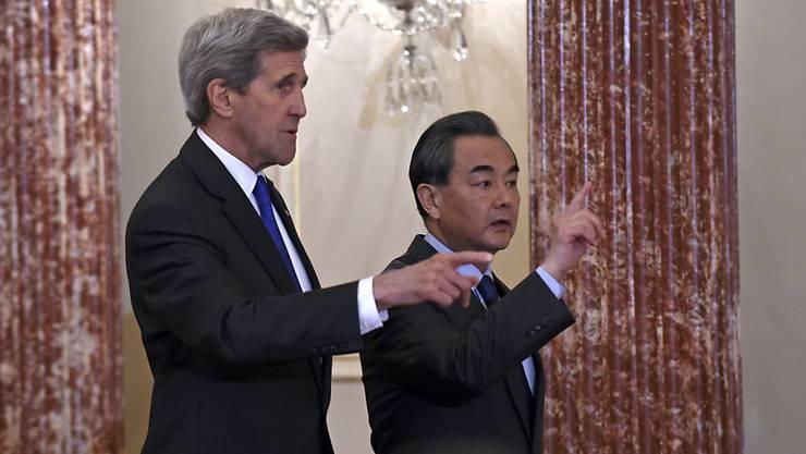 Wie weiter mit Nordkorea? US-Aussenminister John Kerry und sein chinesischer Amtskollege Wang Yi verhandeln in Washington.