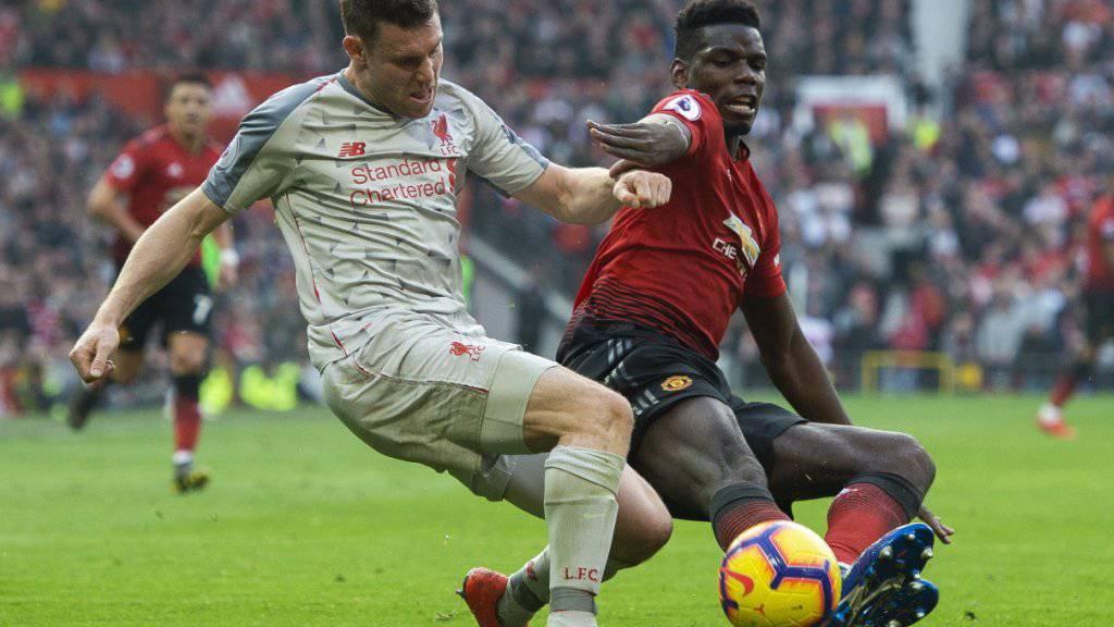Kein Sieger im Duell zwischen Liverpools James Milner und Manchester Uniteds Paul Pogba