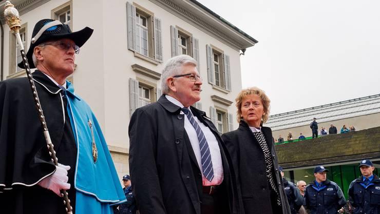 2014 war Eveline Widmer-Schlumpf (im Bild mit dem damaligen Landammann Roland Brogli) beim Besuch des österreichischen Kanzlers Werner Faymann in Aarau.