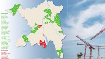 Die Karte zeigt, wo Einzonungen (grün) und Auszonungen (rot) vorgenommen werden.