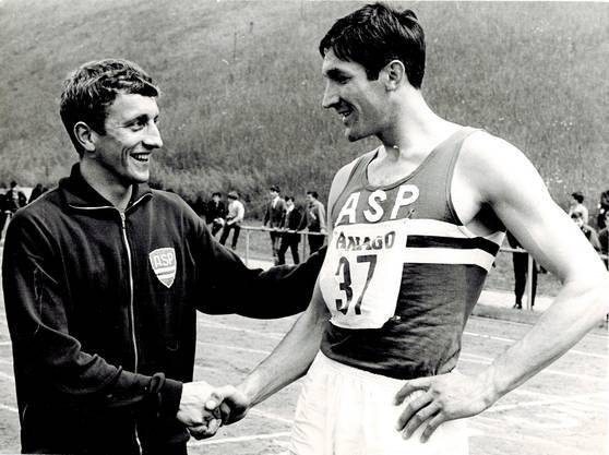 Hans-Ruedi Wiedmer (links) und Daniel Riedo während Kantonalmeisterschaften 1967.