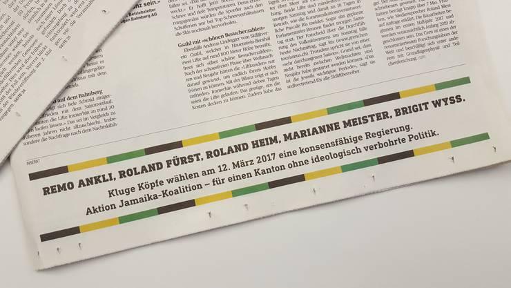 Das Inserat der «Jamaika-Koalition» in der Solothurner Zeitung.