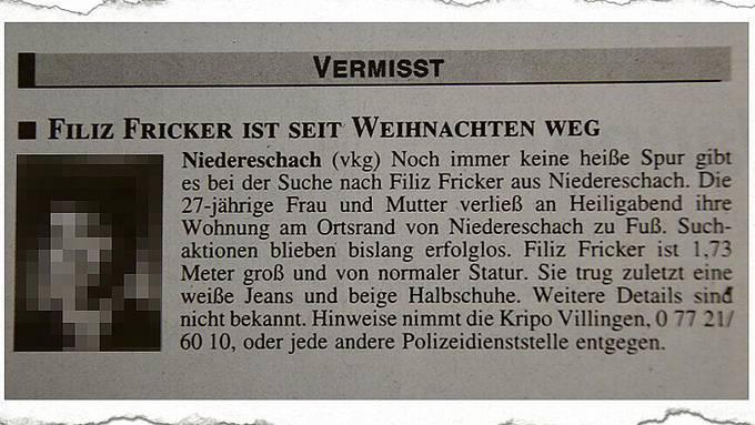 Ein Ausriss aus der SÜDKURIER-Ausgabe vom 19. Januar 2000: Filiz Fricker (Bild verpixelt) gilt als vermisst, jegliche Suchaktionen sind erfolglos.