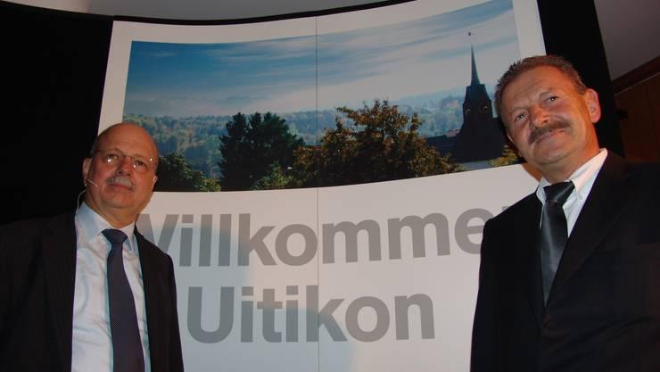Sehr willkommen in Uitikon: Konrad Hummler und Victor Gähwiler.