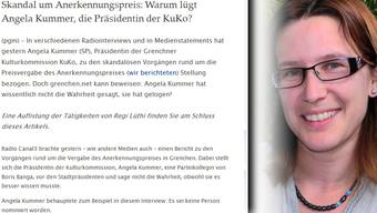 Angela Kummer, sie wird auf «grenchen.net» scharf kritisiert