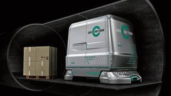 So sehen die Paletten-Güterwagen für Cargo sous terrain aus.