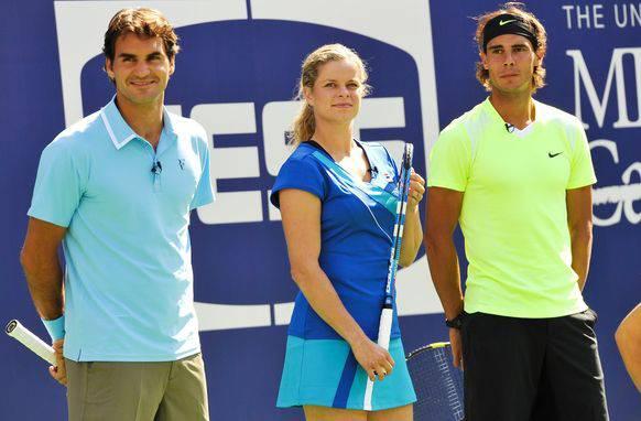 Beim US Open 2010 spielte Clijsters mit Federer und Nadal ein Show-Match.