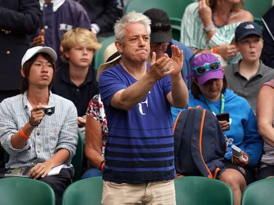 Ferderer-Superfan Bercow auf der Tribüne in Wimbledon.