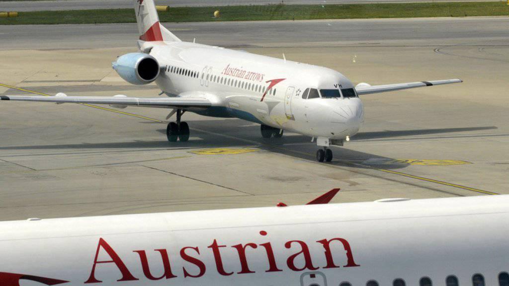 Stehen geblieben wegen technischer Probleme: Austrian Airlines-Maschinen auf dem Flughafen Wien-Schwechat.