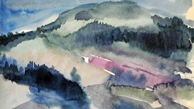 Auch die Innerschweizer Landschaft – hier die Rigi – brachte der Nidwaldner zu Papier.