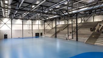 Eine der beiden neuen Sporthallen im GoEasy, die am Wochenende mit einem Handballspiel eröffnet wird.