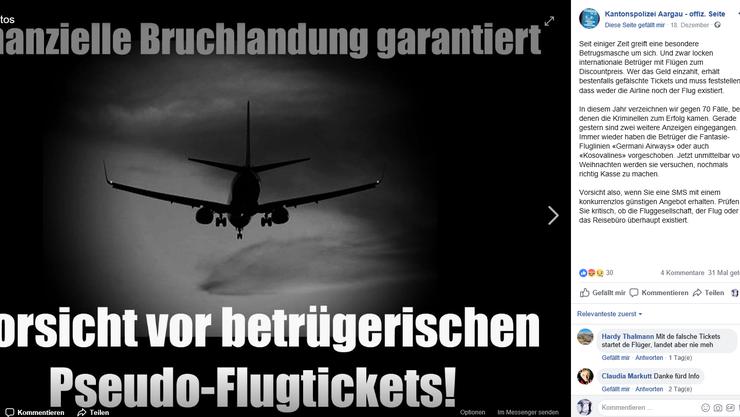 Kantonspolizei Aargau warnt vor betrügerischen Pseudo-Flugtickets und Fantasie-Fluglinien