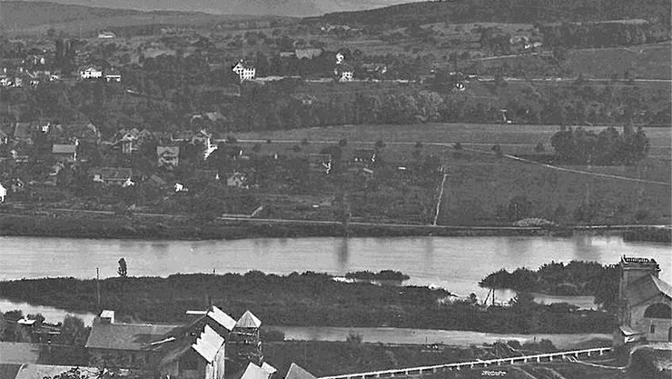 Das Fleiner-Kraftwerk mit Transmissionsanlage nach 1892.