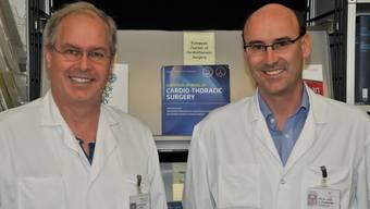 Star-Chirurg Thierry Carrel (links) und Lars Englberger werden gemeinsam das neue zentrum Herzchirurgie Hirslanden Aarau leiten.